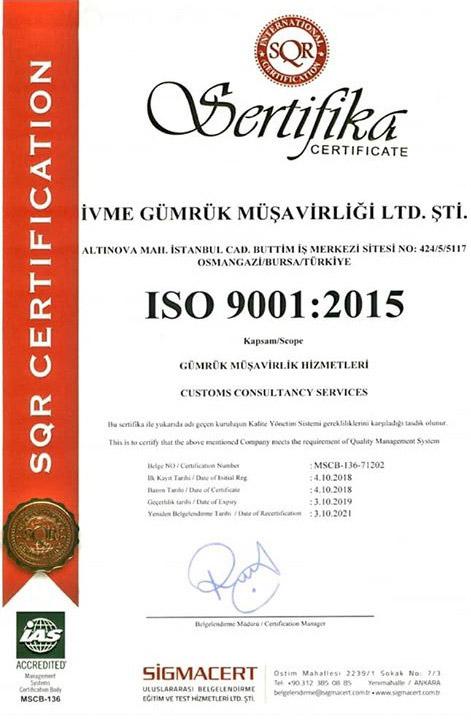 ivme gümrük sertifika 1